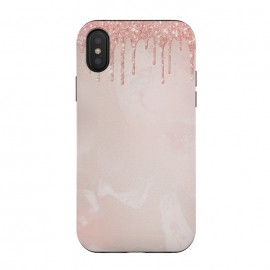 iPhone Xs / X  Pink Glitter Rain  by Utart (Stylish, Ombre, Girly, Marble, Marbled, Nature, Texture, Geode, Terrazzo, Metallic, Scandi, Bohemian, Boho, Scandinavian ,stone, crystal, quartz, gemstone, gem, granite, shimmer, shimmery, shiny ,metallic,trendy girly, simply, simple, glitter, chrystal, ink ,malachite, agate, metal, foil ,summer, sp)