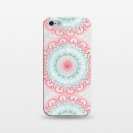 iPhone 5/5E/5s  Faded Coral & Mint Mandalas on Grey by Tangerine-Tane