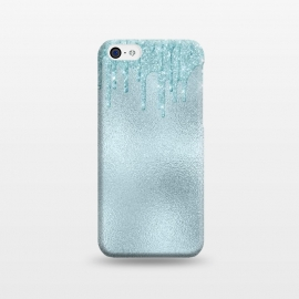 iPhone 5C  Ice Blue Glitter Droplets on Metal Foil by Utart