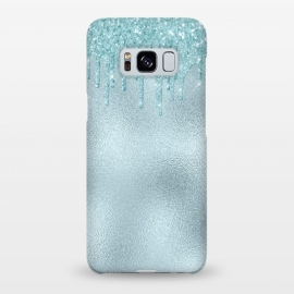 Galaxy S8+  Ice Blue Glitter Droplets on Metal Foil by Utart