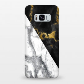Galaxy S8+  Marble Black White Gold Geometric by Alemi