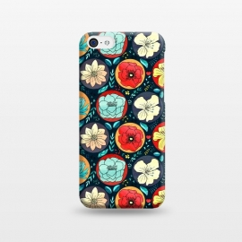 iPhone 5C  Navy Polka Dot Floral  by Tigatiga