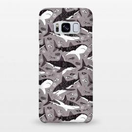 Galaxy S8+  Tribal Sharks & Fish On Grey  by Tigatiga