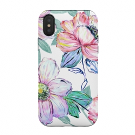 iPhone Xs / X  Romantic watercolor flowers hand paint design by InovArts (Romantic,blooming peonies,watercolor flowers,hand paint,elegant design,bohemian,watercolor,garden floral,trendy,seamless pattern,leaves,illustration,simple,Beautiful,fashion trend,original,creative art,glamorous,Elegant,feminine,girly,hand drawn,image,home decor)
