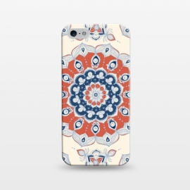 iPhone 5/5E/5s  Red, Blue and Cream Floral Mandala by  (mandala,medallion,boho,bohemian,hippy,micklyn,flower,circle,zen,doodle,navy,navy blue, dark red, cream,linework,symmetrical,hand drawn,ink)