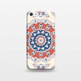 iPhone 5C  Red, Blue and Cream Floral Mandala by Micklyn Le Feuvre