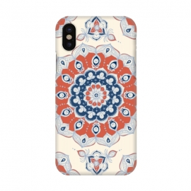 iPhone X  Red, Blue and Cream Floral Mandala by Micklyn Le Feuvre