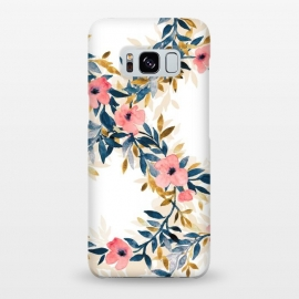 Galaxy S8+  Spring Blossom Watercolor Wreath by Micklyn Le Feuvre (floral,flowers,blossom,blossoms,spring,summer,fresh,watercolor,watercolour,painting,hand painted,micklyn,blush pink,white,navy blue,mustard,cream,trendy,cute,fun)
