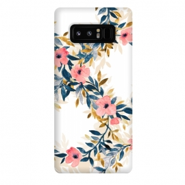 Galaxy Note 8  Spring Blossom Watercolor Wreath by  (floral,flowers,blossom,blossoms,spring,summer,fresh,watercolor,watercolour,painting,hand painted,micklyn,blush pink,white,navy blue,mustard,cream,trendy,cute,fun)
