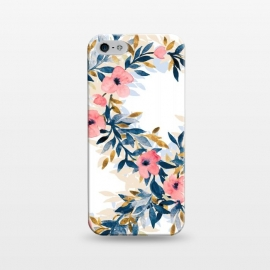 iPhone 5/5E/5s  Fresh Pink Watercolor Floral Wreaths by Micklyn Le Feuvre (blush,pink,navy blue,blue,mustard,cream,white,floral,flowers,blossoms,spring,summer,watercolor,watercolour,micklyn,hand painted, wreath,fresh,trendy,girly,cute,leaves,nature,circles,pattern)