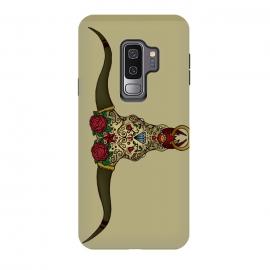 Galaxy S9 plus  El Toro Sugar Skull by  (skull,bull,toro,sugar-skull,calavera,mexico,old-school,vintage,tattoo,ornament,traditional,animal,skeleton,unique,cool,diamond,roses,flowers)