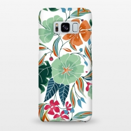 Galaxy S8+  Minty + Rust Floral by Uma Prabhakar Gokhale (graphic design, pattern, floral, nature, exotic, botanical, blossom, flowers, rust, mint, colorful, bloom, leaves)