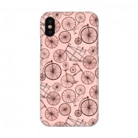 iPhone X  Vintage Bicycles on Pink by Tigatiga