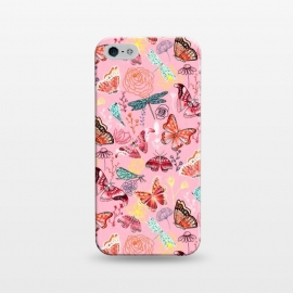 iPhone 5/5E/5s  Butterflies, Dragonflies and Moths on Pink  by