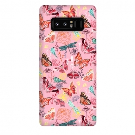 Galaxy Note 8  Butterflies, Dragonflies and Moths on Pink  by Tigatiga