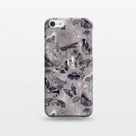 iPhone 5C  Grey Butterflies, Dragonflies and Moths  by Tigatiga