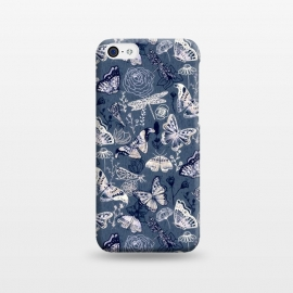 iPhone 5C  Butterflies, Dragonflies and Moths on Navy  by Tigatiga