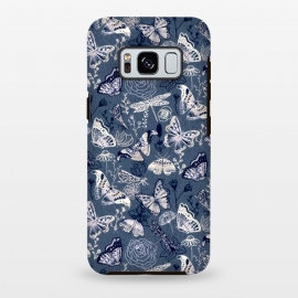 Galaxy S8 plus  Butterflies, Dragonflies and Moths on Navy  by