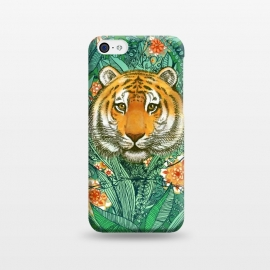 iPhone 5C  Tiger Tangle in Color by Micklyn Le Feuvre (tiger,jungle,tropical,micklyn,illustration,drawing,doodle,flowers,forest,animal,wild,orange,teal,emerald,green,nature,plants,leaves,leafy,leaf,tigers,cute,trendy,popular)