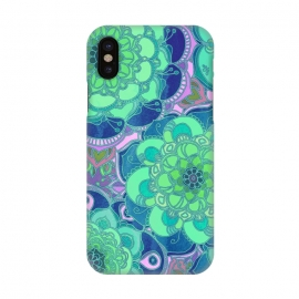 iPhone X  Fantasy Flowers in Mint Green & Purple by Micklyn Le Feuvre