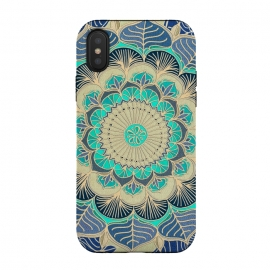 iPhone Xs / X  Midnight Bloom by Micklyn Le Feuvre (mandala,medallion,boho,bohemian,mint green,gold,texture,micklyn,flower,linework,doodle,zen,navy,canvas,lines,detailed,doodled,circle,circles,shapes,embossed)