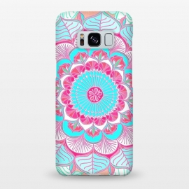 Galaxy S8+  Tropical Doodle Flower in Pink & Aqua by Micklyn Le Feuvre (turquoise,magenta,bright,colorful,pink and blue,boho,bohemian,mandala,medallion,circle,drawing,doodle,micklyn,linework,texture,flower,zen,patterns,circles)