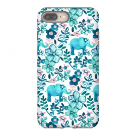 Little Teal Elephant Watercolor Floral on White by Micklyn Le Feuvre