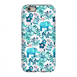 iPhone 6/6s  Little Teal Elephant Watercolor Floral on White by Micklyn Le Feuvre