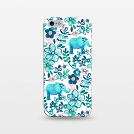 iPhone 5/5E/5s  Little Teal Elephant Watercolor Floral on White by Micklyn Le Feuvre (watercolor,floral,elephant,elephants,baby,cute,flowers,flower,teal,blush,pink,dark blue,white,micklyn,painting,painted,boho,bohemian,sweet,leaves,nature,animals,animal)