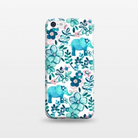 iPhone 5C  Little Teal Elephant Watercolor Floral on White by Micklyn Le Feuvre (watercolor,floral,elephant,elephants,baby,cute,flowers,flower,teal,blush,pink,dark blue,white,micklyn,painting,painted,boho,bohemian,sweet,leaves,nature,animals,animal)