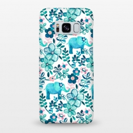Galaxy S8+  Little Teal Elephant Watercolor Floral on White by Micklyn Le Feuvre