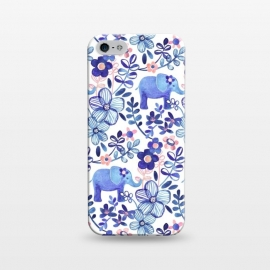 iPhone 5/5E/5s  Little Purple Elephant Watercolor Floral on White by Micklyn Le Feuvre (elephant,elephants,floral,flower,flowers,leaf,leaves,nature,animals,animal,indigo,navy blue,blush,pink,white,cute,watercolor,watercolour,pattern,micklyn,boho,bohemian,painted,painting,pretty,girly,trendy)