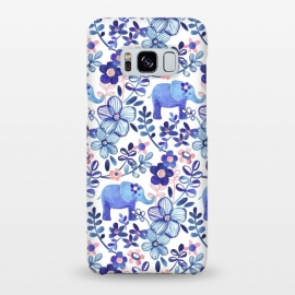 Galaxy S8+  Little Purple Elephant Watercolor Floral on White by Micklyn Le Feuvre