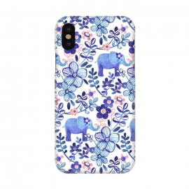 iPhone X  Little Purple Elephant Watercolor Floral on White by Micklyn Le Feuvre (elephant,elephants,floral,flower,flowers,leaf,leaves,nature,animals,animal,indigo,navy blue,blush,pink,white,cute,watercolor,watercolour,pattern,micklyn,boho,bohemian,painted,painting,pretty,girly,trendy)