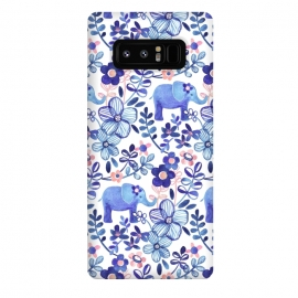 Galaxy Note 8  Little Purple Elephant Watercolor Floral on White by Micklyn Le Feuvre