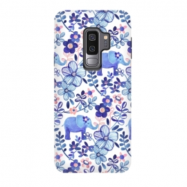 Galaxy S9 plus  Little Purple Elephant Watercolor Floral on White by