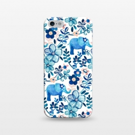 iPhone 5/5E/5s  Little Blue Elephant Watercolor Floral on White by Micklyn Le Feuvre