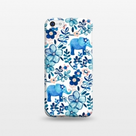 Little Blue Elephant Watercolor Floral on White by Micklyn Le Feuvre