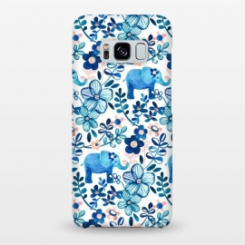 Galaxy S8+  Little Blue Elephant Watercolor Floral on White by Micklyn Le Feuvre (elephant,elephants,baby,cute,watercolor,watercolour,pattern,painted,painting,micklyn,navy blue, indigo,white,blush,pink,teal,nature,flower,flowers,floral,leaves,trendy,girly,boho,bohemian)
