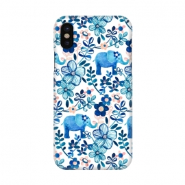 iPhone X  Little Blue Elephant Watercolor Floral on White by Micklyn Le Feuvre (elephant,elephants,baby,cute,watercolor,watercolour,pattern,painted,painting,micklyn,navy blue, indigo,white,blush,pink,teal,nature,flower,flowers,floral,leaves,trendy,girly,boho,bohemian)