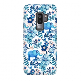 Galaxy S9+  Little Blue Elephant Watercolor Floral on White by Micklyn Le Feuvre