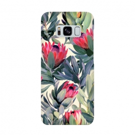 Painted Protea Pattern by Micklyn Le Feuvre (protea,proteas,flower,flowers,floral,painted,texture,nature,leaves,leaf,micklyn,olive green,magenta,classic,cream,trend,tropical,summer)