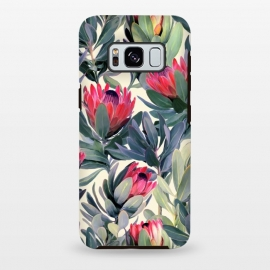 Galaxy S8 plus  Painted Protea Pattern by  (protea,proteas,flower,flowers,floral,painted,texture,nature,leaves,leaf,micklyn,olive green,magenta,classic,cream,trend,tropical,summer)