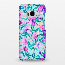Galaxy S8+  Happy Spring Floral in Watercolor by Micklyn Le Feuvre (spring,blossom,blossoms,flower,flowers,floral,pattern,watercolor,watercolour,micklyn,blush,pink,magenta,peach,cyan,tiffany,blue,teal,lilac,cherry,fresh,hearts,love,girly,trendy,summer,pastels,pastel,color,colors)