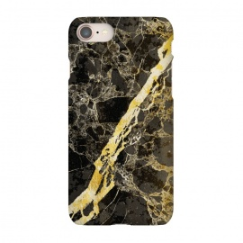 iPhone 8/7  Black marble with diagonal golden cracks by Oana