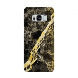 Black marble with diagonal golden cracks by Oana