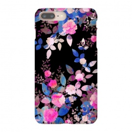iPhone 8/7 plus  Blue magenta japanese roses on black by Oana