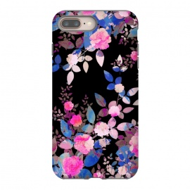 Blue magenta japanese roses on black by Oana