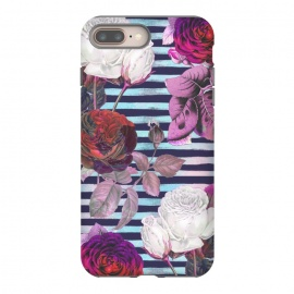 iPhone 8/7 plus  Roses on blue watercolor stripes botanical illustration by Oana