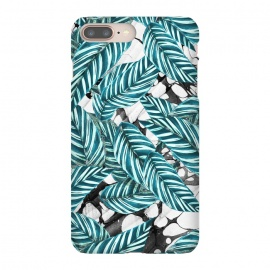 Green tropical leaves on monochrome marble by Oana